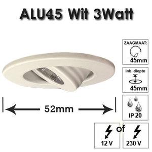 WIT Aluminium Inbouw spot 3 watt Wit 9010