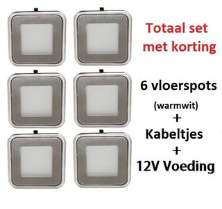 Vloerspot pakket 6x 0,6 Watt & voeding + kabel